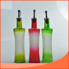 glass vinegar and oil bottle in different colors