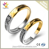 A Pair Price Wholesale Gold Engagement Rings,Sterling Silver Wedding Couple Rings,Letter Engraved Engagement Silver Rings