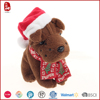 2015 popular christmas gifts plush toy wholesale stuffed dog with santa hats