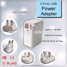 Portable travel 4 ports usb wireless charger with worldwide plugs of US, UK, AU,EU