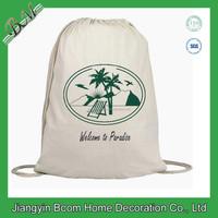 Books Drawstring Cotton Backpack /Gym Cinch Bag 100% Cotton Canvas