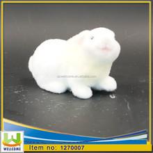 Ceramic Crafts Long Flocking white blended with pink ceramic white plush rabbit