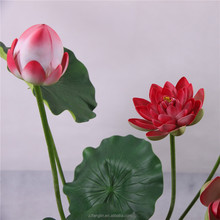 nearly natural high quality artificial lotus flower wholesale artificial red lotus flower for indoor decorative