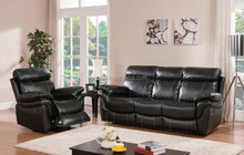 3 Pc Recliner Sofa Set - Black pu Leather