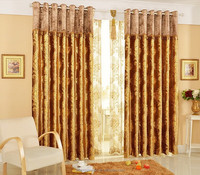 Finished pastoral style small jacquard flower short curtain