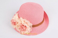 baby kids straw hat decoration with flower girls straw hat making for children