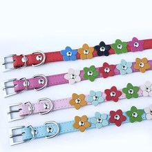 Puppy PU Leather Buckle Neck Pet Dog Cat Collar Sweet Flower Studded Strap Collar puppy dog collar
