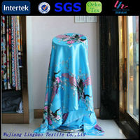 Textile mill polyester satin printing peacock dress fabric