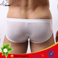 Fancy underwear men/sexy boxer shorts for gay/see through ice silk underpants/colorful comfortable Zhongshan factory