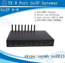 YX new quad band 8 sim cards gsm gateway pbx,8-8 goip with sim bank function