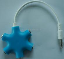Headphone/earphone/headset splitter 6x3.5mm stereo female jacks