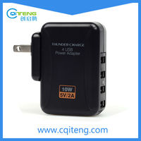 CE Rohs 4 Ports Output Quad USB High Power Multi AC Travel Charger