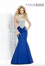 2014 New Arrivals Tarik Ediz 92328 Women Formal Wear Beaded High Neck Mermaid Long Evening Dress Blue Turkish Evening Dresses