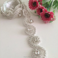 ShiDianYi Thin Rhinestone Sash, Crystal Bridal Grown Sash Embellishement,Bridal Accessories RA030