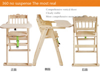 Nature environmental wood high folding chair for baby