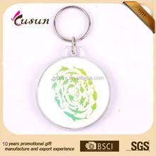 Custom Printed Logo Plastic Round clear blank Shape Acrylic Keychain