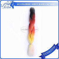 Wavy xpression 3 tone color ombre hair, purple ombre kanekalon synthetic hair, black and red ombre hair