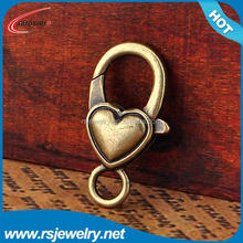 RS-1945 Factory outlet jewelry finging, 13*27mm Antique Bronze heart shaped unique necklace lobster clasps