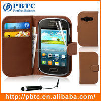 Set Screen Protector Stylus And Case For Samsung Galaxy Fame S6810 , Brown Cell Phone Wallet Leathter PU Back Cover