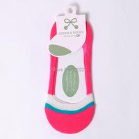Симпатичный полосатый хлопок скольжения силиконовый невидимый мелкий рот женщин носки 19017