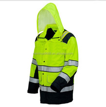 3M waterproof and coldproof high visibility flurescent safety winter jacket raincoats with hood