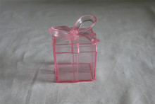 plastic gift box with ribbon