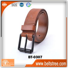 embossed brown leather belts for man ,pin gun buckle wholesale