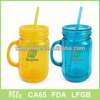 Double wall 600ml soft drink plastic Acrylic mason jar