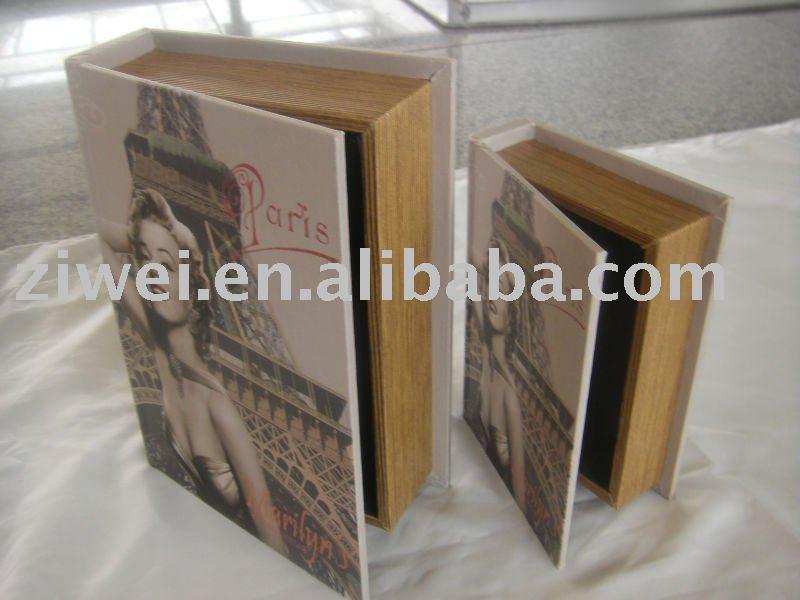 Mdf y lona de la artesanía caja de almacenamiento en forma de libros