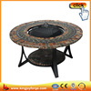 Outdoor round mosaic table fire pit