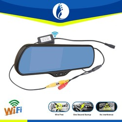 Wire free 5 Inch Android 5.1 DVR GPS wireless car rearview mirror gps navigator