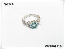 Fashion brass jewelry for women 925 silver plated zircon wedding ring