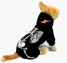 Wholesale Luminous shock dragon Spring Autumn Fleece skeleton Pattern Black Dog Clothing Pet Clothes