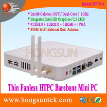 HT730A HTPC Intel Celeron 1037U 1.80Ghz Dual Core 2 Threads Processor Fanless Mini Barebone PC, USB2.0, USB3.0, WiFi, VGA