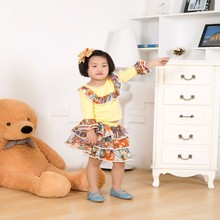 Wholesale children fall boutique clothing, baby dress, long sleeve shirt and tutu skirts