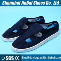 Navy cotton canvas antistatic shoes with PU sole