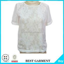 Patrones libres del diseño de corea blusa de gasa de seda blanco