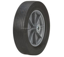 Flat free solid rubber tire with plastic rim for lawn mover 10''x2.75''