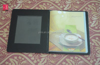 A4 Plain PU Leather restaurant menu cover with 8pcs pockets