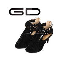 GD Sexy Lace up High Heel Black Leatehr Gladiator Sandal Heels