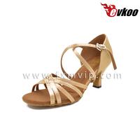 Fleash color strips Genuine leather sole girls ballroom latin dance shoes