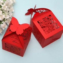 red wedding favor candy box