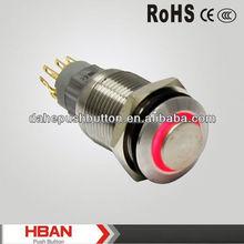 CE ROHS 16MM IP67 Waterproof illuminated metal push button switch