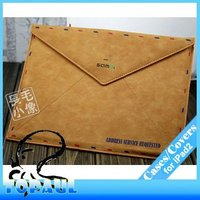 2P024 airmail PU leather envelope cover for tablet pc retro bag for ipad 2 ipad 3