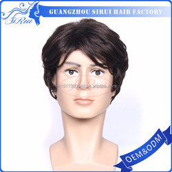Wholesale heat resistant japan kanekalon men wig hair, synthetic hair grey wigs, black men lace front wigs