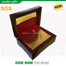 gold plated playing cards with wooden box and certification