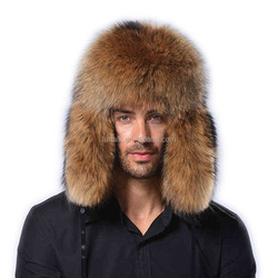 Men's winter warm raccoon fur whole special ear hat snow cap