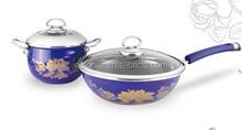 Nice enamel cast iron cookware sets/fry pan+saucepan