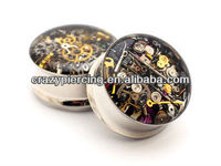 Steampunk Watch Parts Plugs 316L Surgical Steel Double Flares Ear Tunnel Piercing Jewelry