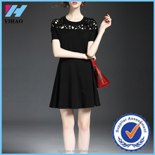 Yihao 2015 Summer New Arrival Ladies Fashion Black Pierced Dress Short Sleeve A-line Casual Dresses For Women